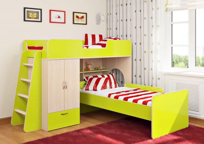 дизайн детской кровати из дерева в комнате