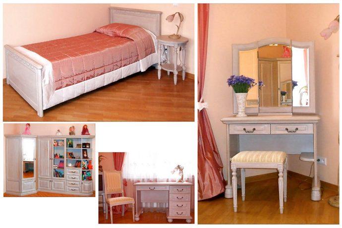 кровать из массива в интерьере детской комнаты каркас