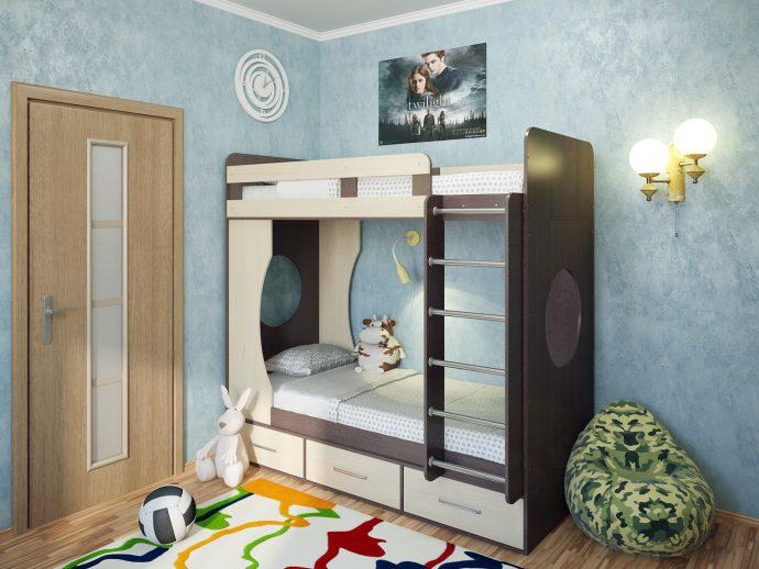 конструкция кровати из массива дерева в интерьере комнаты