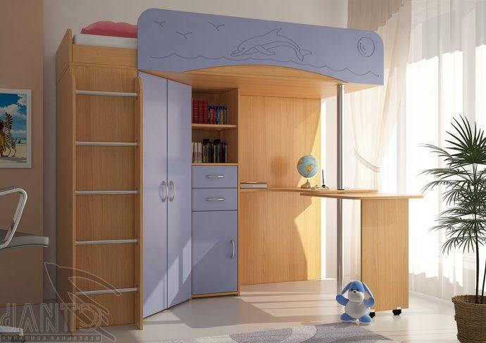 конструкция кроватки дельфин для ребенка в светлых тонах
