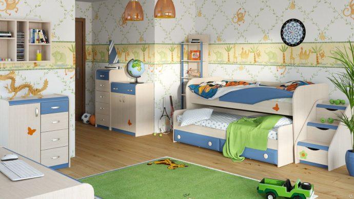 интерьер двухъярусной кровати из массива дерева в интерьере комнаты