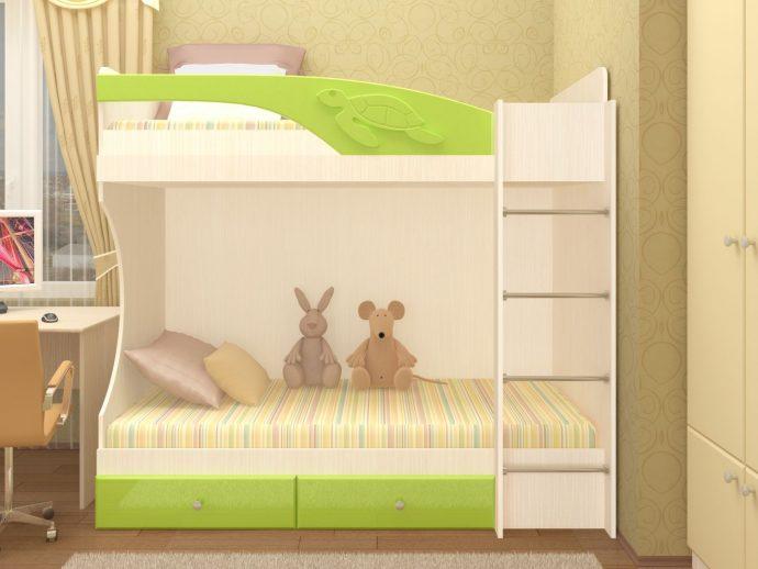 дизайн кроватки дельфин для малыша в ярких тонах