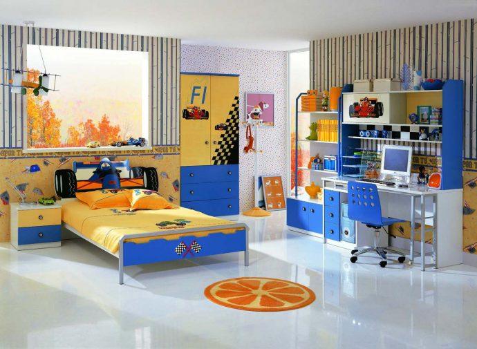 яркая детская мебель для мальчика в детскую комнату