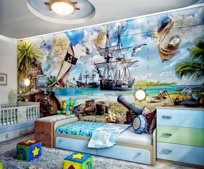 красивая детская спальня для двух мальчиков дизайн фото