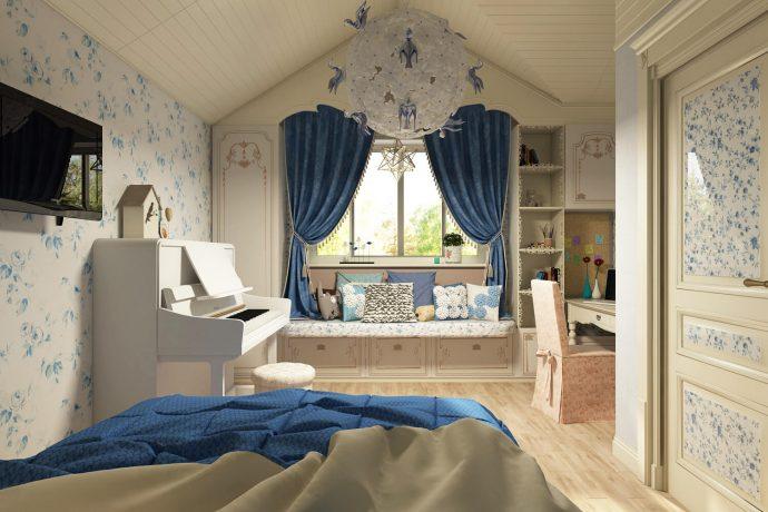 красивая детская комната в дизайне прованс для девочки картинка