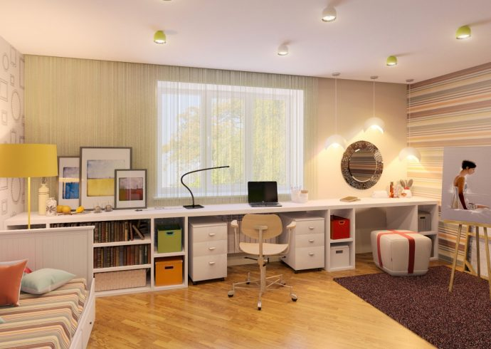 необычная комната в скандинавском дизайне