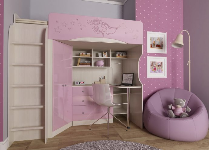 двухъярусная кровать чердак в детскую комнату фото дизайна