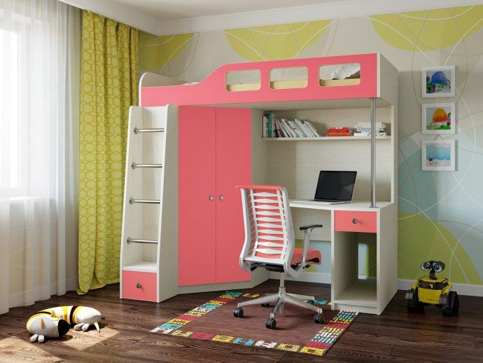 двухъярусная кровать чердак в детскую комнату фото