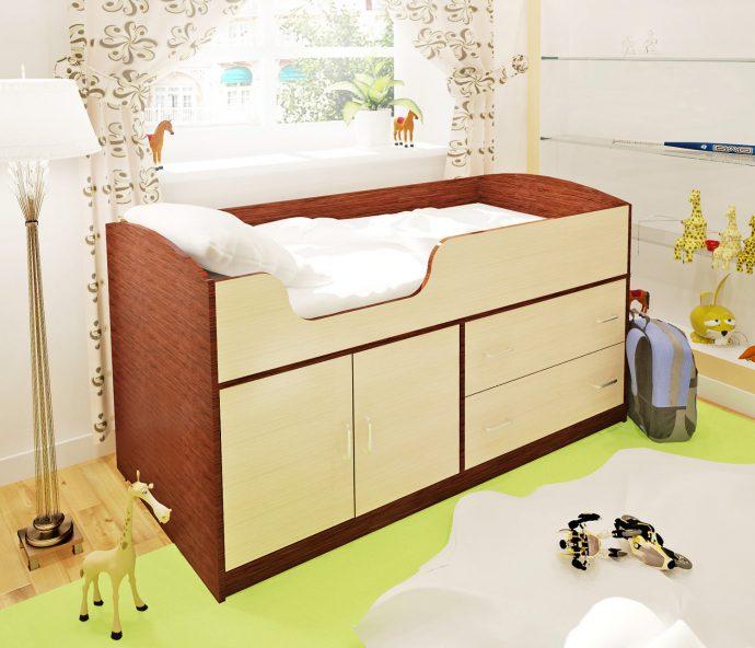 яркая детская кроватка чердак в дизайне комнаты фото дизайна