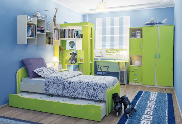 красивая детская мебель для мальчика в детскую комнату пример фото