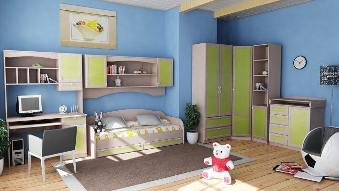 корпусная мебель для мальчика в детскую комнату фото