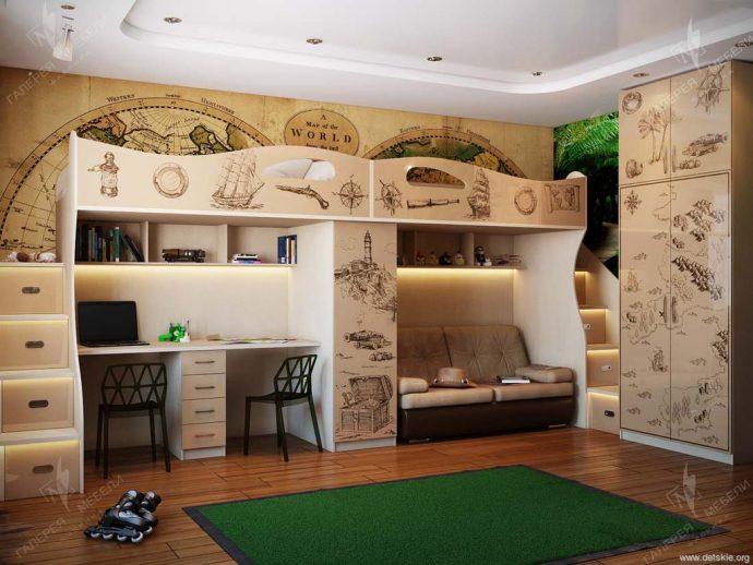 светлая мебель в детскую спальню для девочки пример