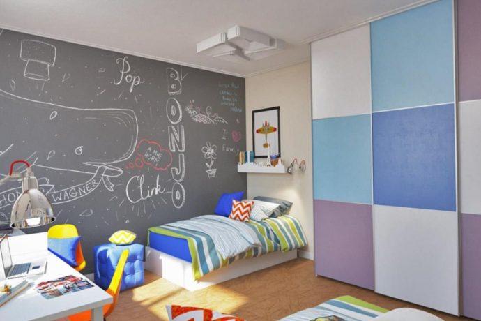 большая детская комната для двух мальчиков пример дизайна картинка