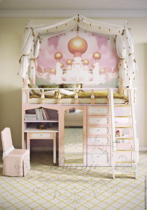 яркая функциональная мебель в спальню для девочки пример