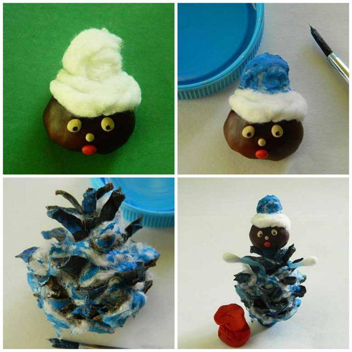 интересная игрушка животное из елки и шишки из подручных материалов картинка