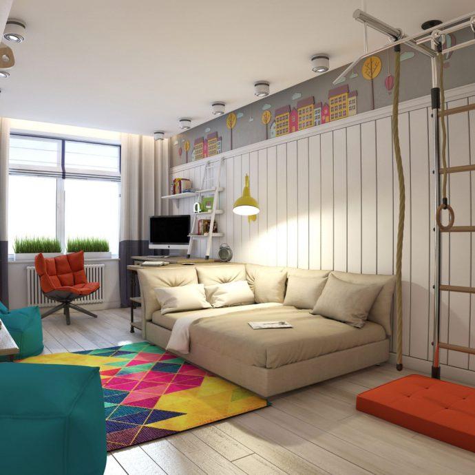 дизайнерская спальня для двух мальчиков пример дизайна картинка