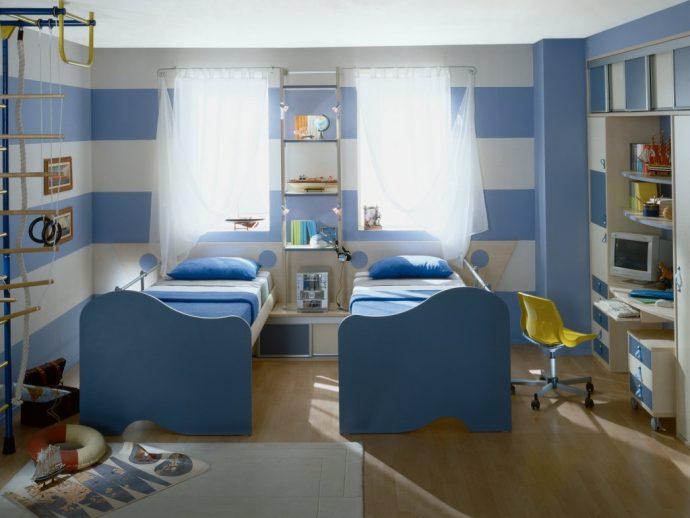 большая детская комната для двух мальчиков дизайн фото