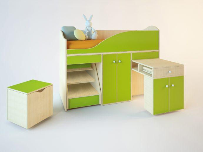 большая кровать чердак в дизайне комнаты