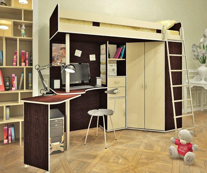 яркая детская кроватка чердак в детскую комнату пример