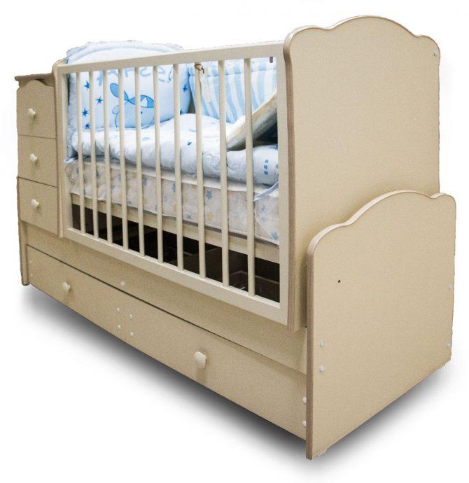 большая кроватка трансформер маятник для мальчика из дерева