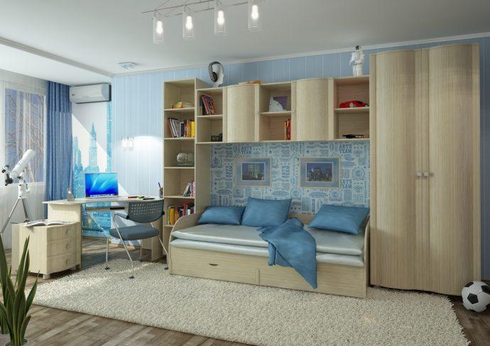 цветная детская мебель для мальчика в комнату