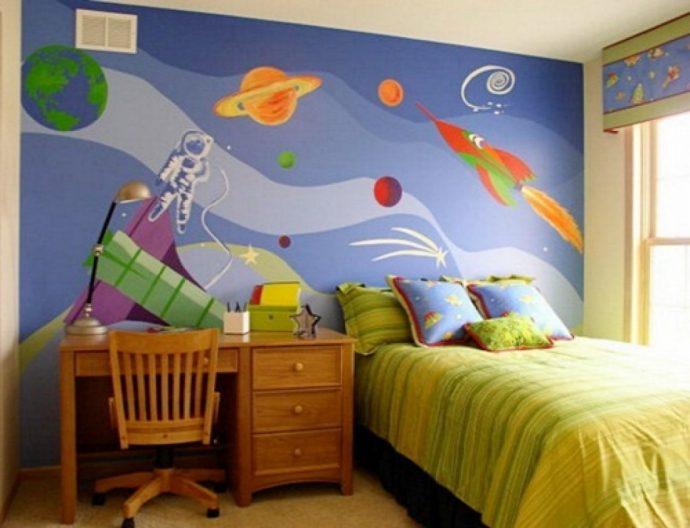 яркие обои в детскую комнату стандартные дизайн