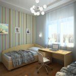полосатые обои в комнату с рисунками интерьер