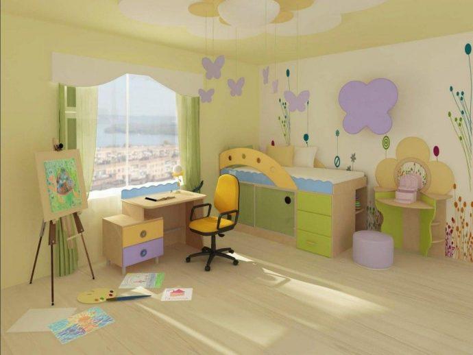 однотонные обои в детскую комнату с картинками пример
