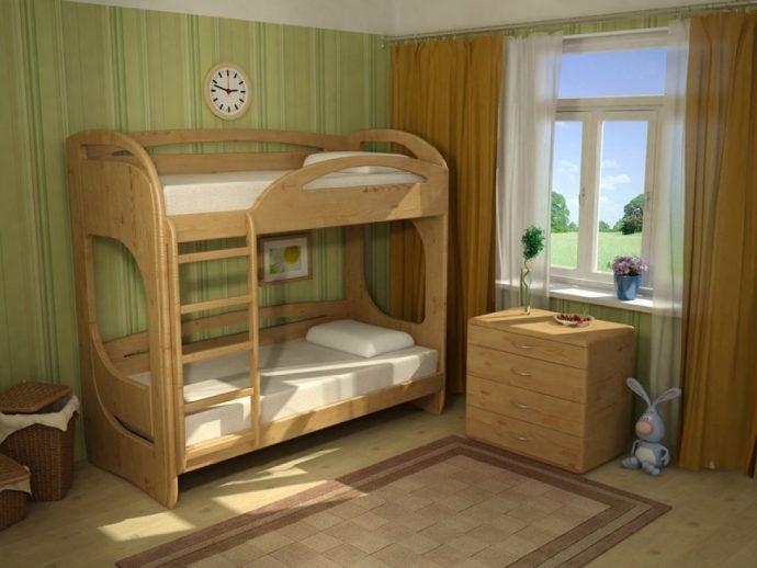 детская мебель из массива дерева в детской комнате