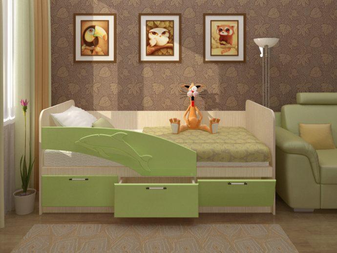 кровать с рисунком дельфина в интерьере