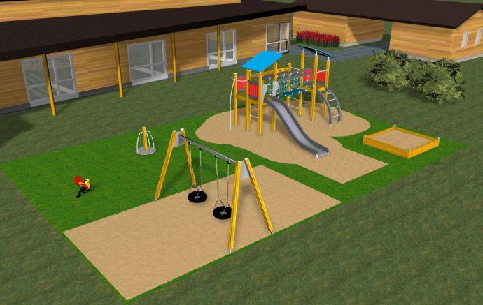 большая детская площадка из подручных средств дома