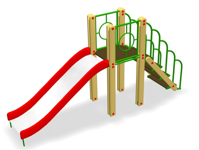 яркая детская горка вертикально установленная для игр
