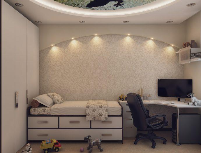 небольшая детская комната для мальчика маленькая пример дизайна