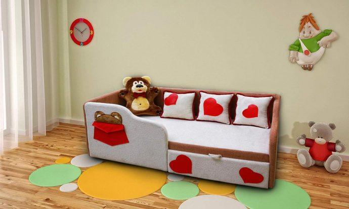 яркая диван кровать для ребенка в комнате пример фото