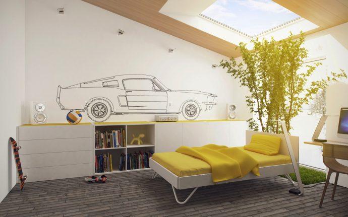 яркая спальня для мальчика дизайн