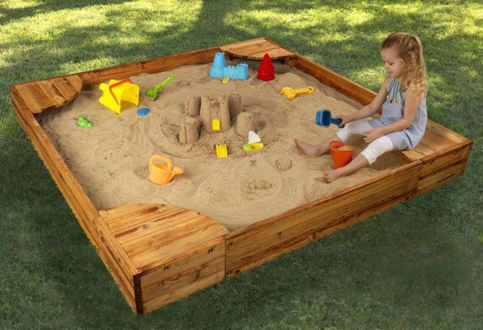 игровая песочница для детей на даче своими руками
