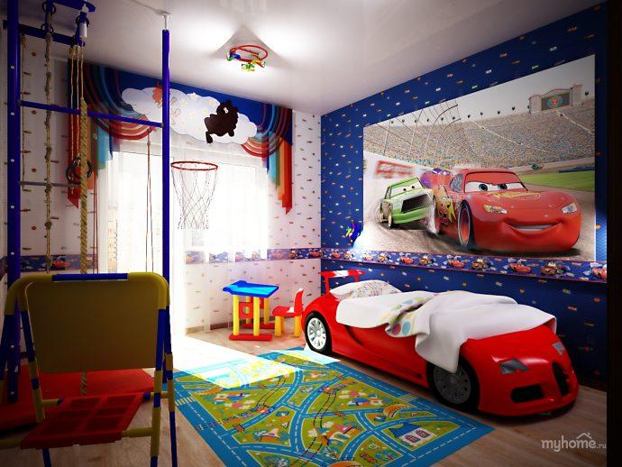 яркие обои в комнату с рисунками пример