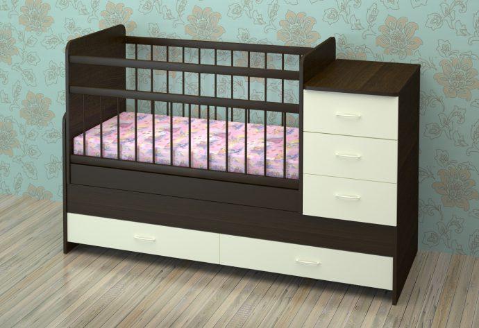 дизайн детской кроватки трансформера с выдвижными полками