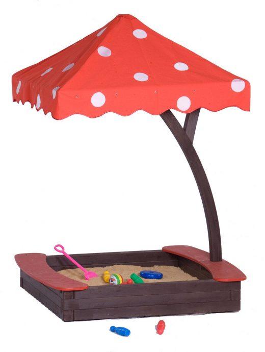 фото детской песочницы во дворе с зонтом