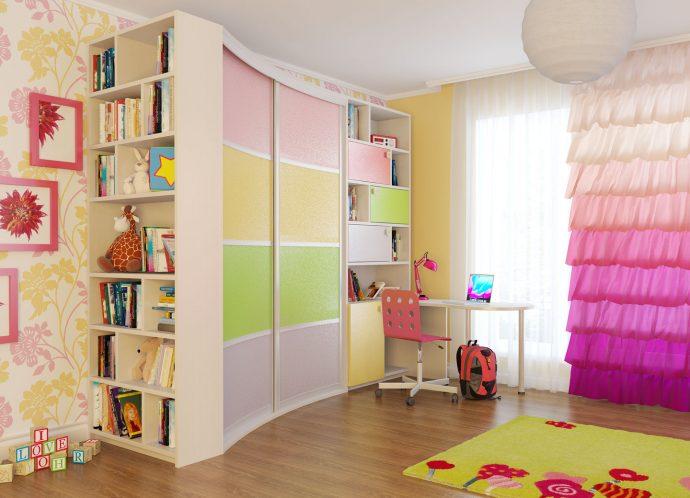 цветной раздвижной шкаф купе в детскую