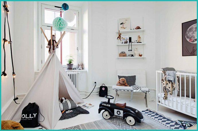 яркая детская комната в скандинавском интерьере