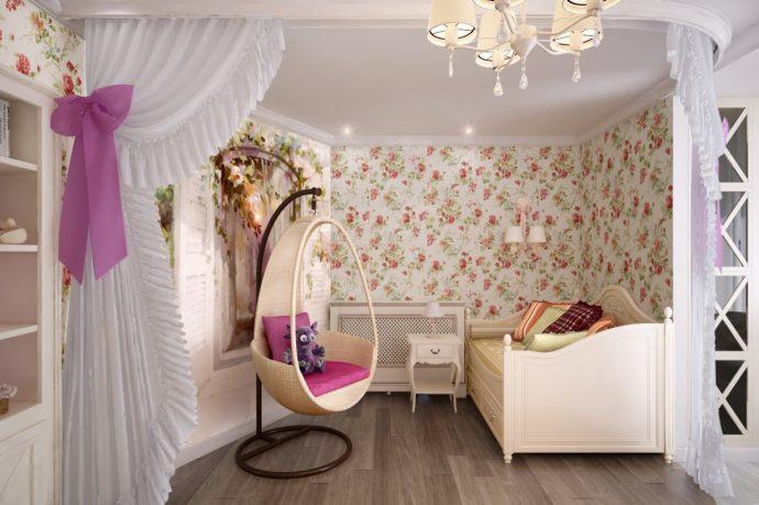 красивая детская комната в стиле прованс для девочки