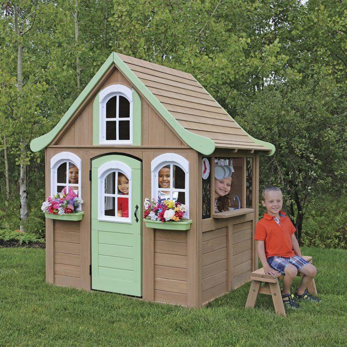 схема игрового домика из массива дерева для дома