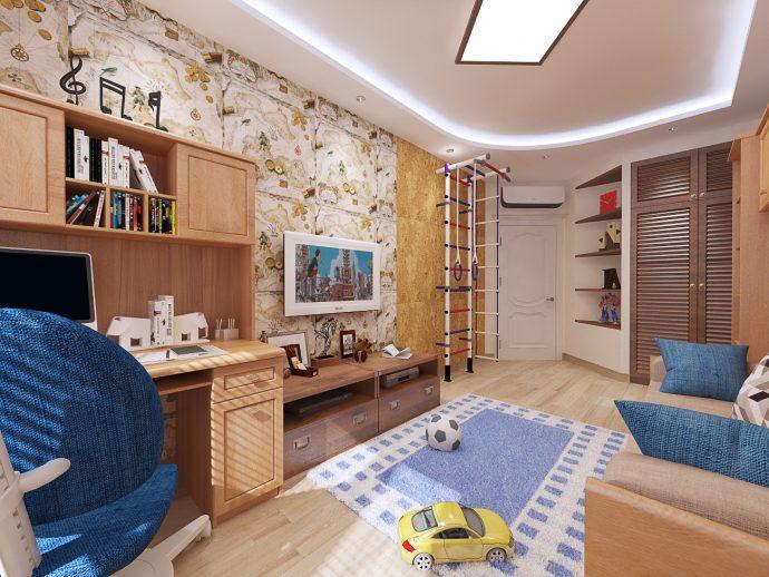 яркая детская комната небольших размеров пример дизайна