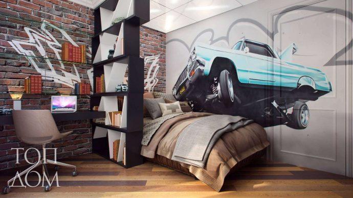 яркая детская спальня в стиле лофт