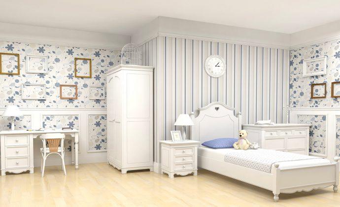 светлая детская комната в дизайне прованс для принцессы