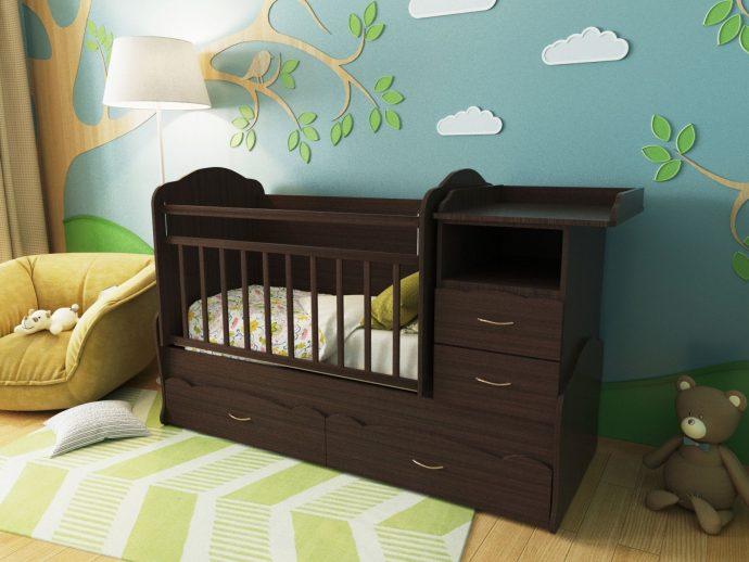 деревянная кроватка трансформер в детской комнате