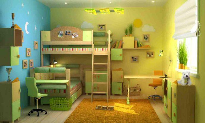 дизайнерская детская спальня для двоих мальчиков вид