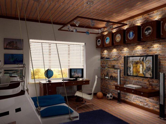 светлая детская спальня в лофт стиле