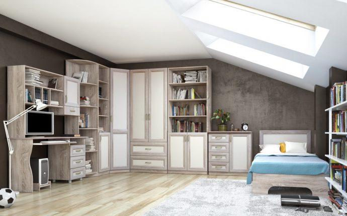 красивая функциональная мебель в детскую спальню для девочки пример